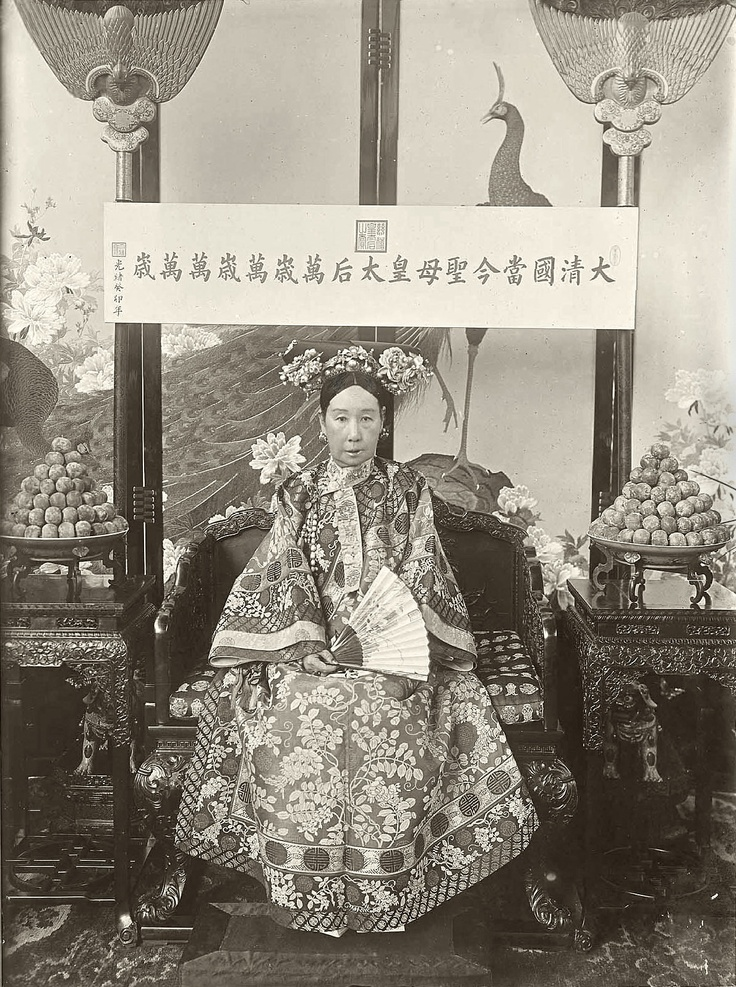 The Empress Dowager Cixi 1903.  Alice Roosevelt visited Beijing in September of 1905 as a member of the William H. Taft Mission to Asia. On the afternoon following an audience at the Summer Palace with the Emperor and the Empress Dowager, a troop of Manchu horsemen delivered the photograph on an imperial yellow chair.  A photograph received by Alice Roosevelt in September 1905 following an audience at the Summer Palace with the Emperor and Empress Dowager for members of the Taft Mission to…