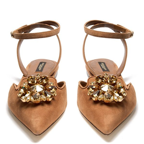 Dolce & Gabbana Belluci point-toe suede flats ($875) ❤ liked on Polyvore featuring shoes, flats, evening flats, ankle wrap flats, special occasion shoes, embellished flats and flat shoes