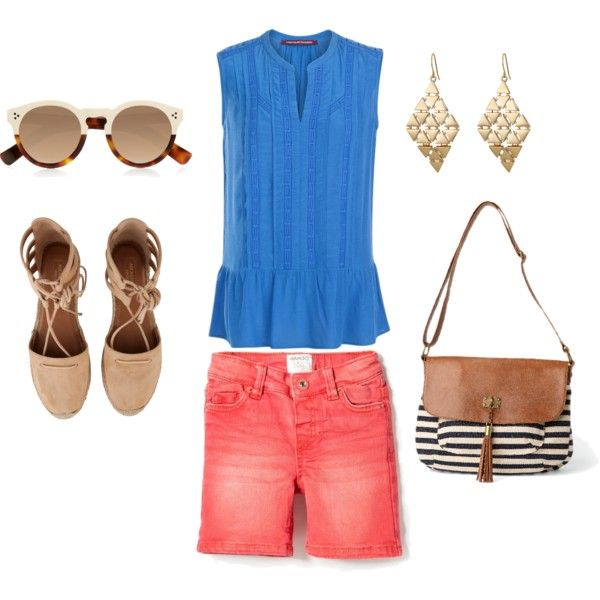 Coral+blue+sand by clers2009 on Polyvore featuring мода, Comptoir Des Cotonniers, MANGO, Aquazzura, maurices, Lauren Ralph Lauren and Illesteva