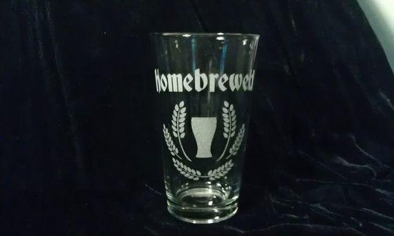 Homebrewed w/ grain & glass - Handmade Etched Pint Glass