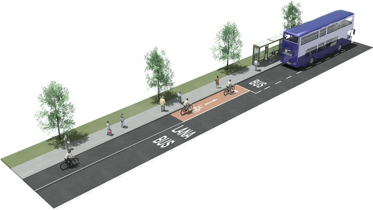 cycle track bus stop street design - Google Search