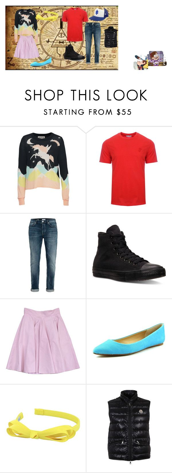 """Mabel and Dipper"" by abby155367 ❤ liked on Polyvore featuring Wildfox, Versace, Topman, Converse, Karen Millen, Joes, L. Erickson, Moncler and Disney"