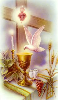 Holy Communion Dove and Sacred Heart Image
