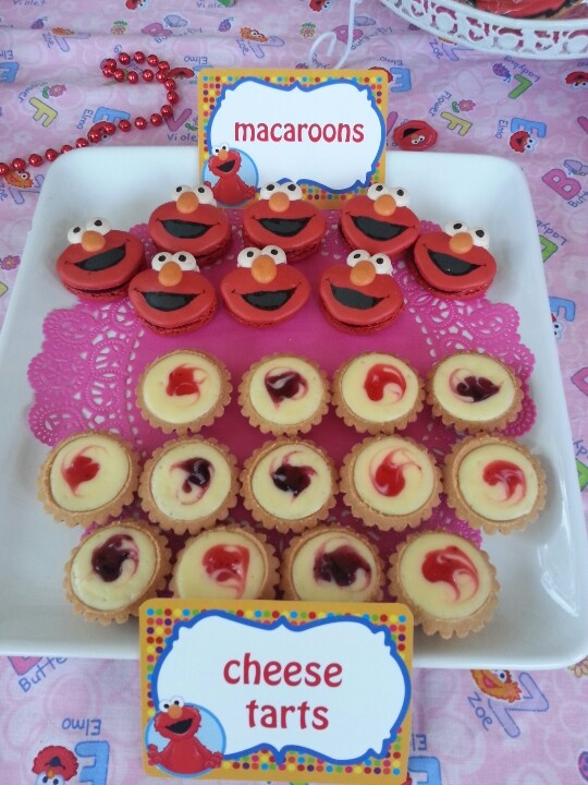 Elmo macaroons with hazelnut paste fillings  Blueberry n strawberry cheesetarts