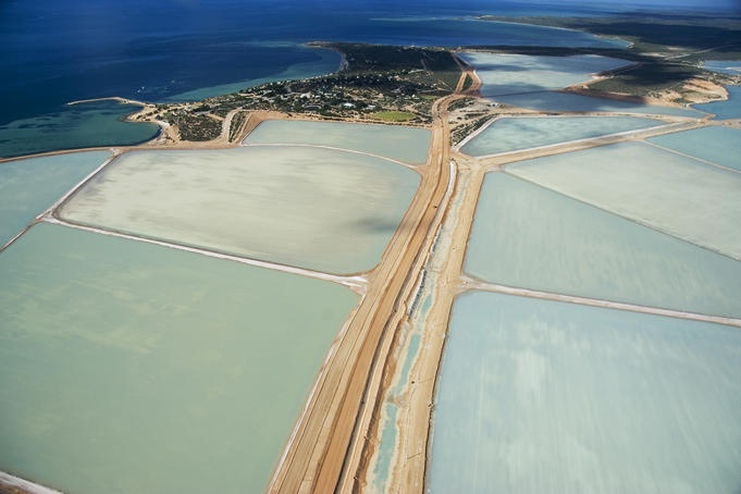 Useless Loop, Western Australia  Aerial of Useless Loop salt pans.