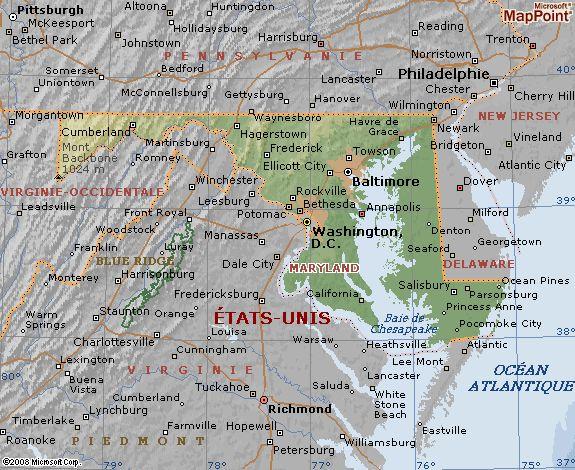 Carte géographique du Maryland