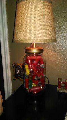 Mason jar filled with shotgun shells for my baby boys hunting theme room - Brandi