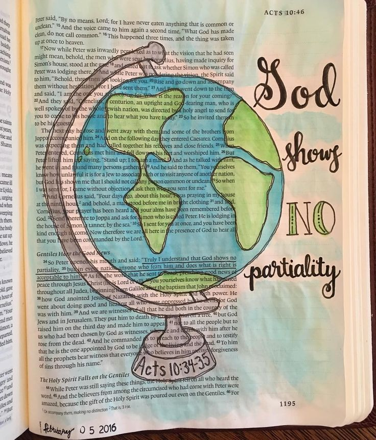 Truly I understand that God shows no partiality but in every nation anyone who fears him and does what is right is acceptable to him. Acts 10:34-35 #biblejournaling #illustratedfaith #rockthebible16 by hunt_karin