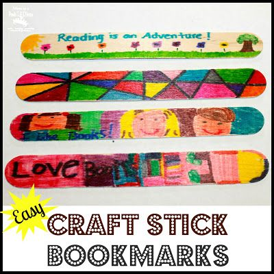 DIY Personalized Craft Stick Bookmarks for kids. Be forewarned - have lots of crafts sticks handy because you can't make just 1!