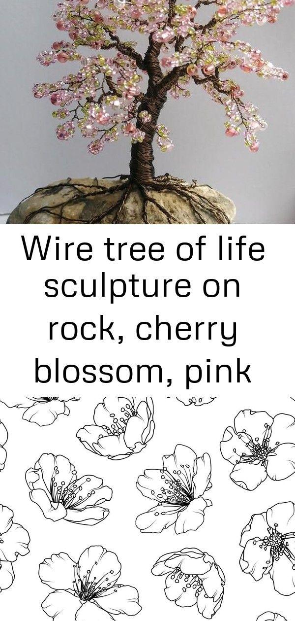Wire Tree Of Life Sculpture On Rock Cherry Blossom Pink Bonsai Tree 3 Wire Tree Japanese Cherry Blossom Bonsai Tree