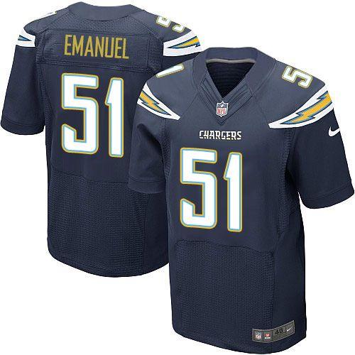 nike elite kyle emanuel navy blue mens jersey los angeles chargers 51 nfl home