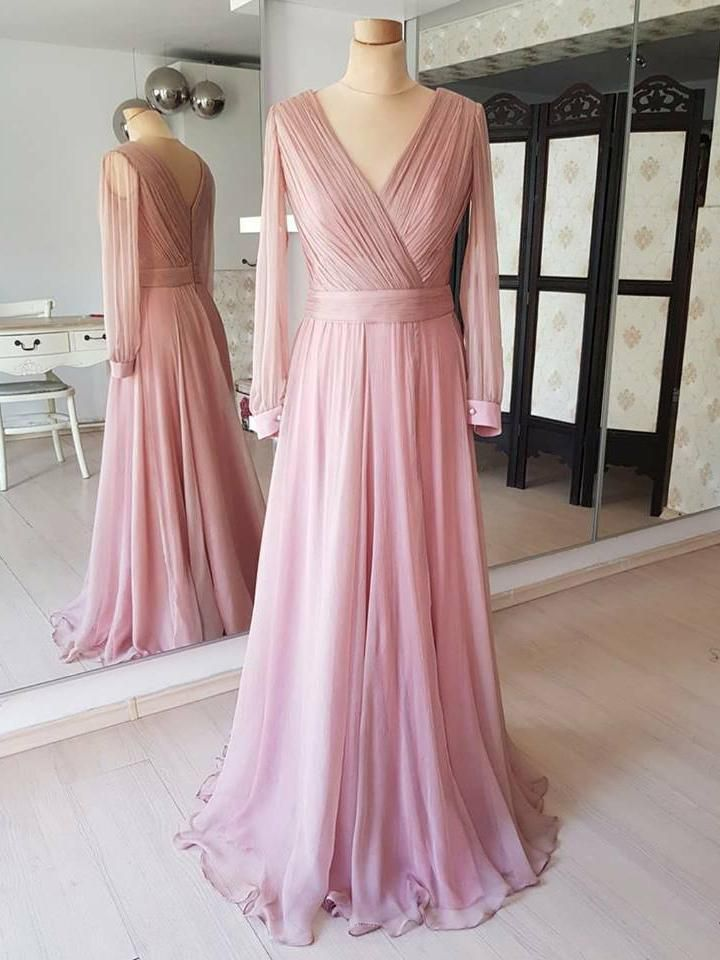 Dusty Rose Cheap Modest Mother Of The Bride Dresses Long Sleeves Prom Dresses Apd3501 Bridesmaid Dresses With Sleeves Long Sleeve Bridesmaid Dress Prom Dresses Long With Sleeves