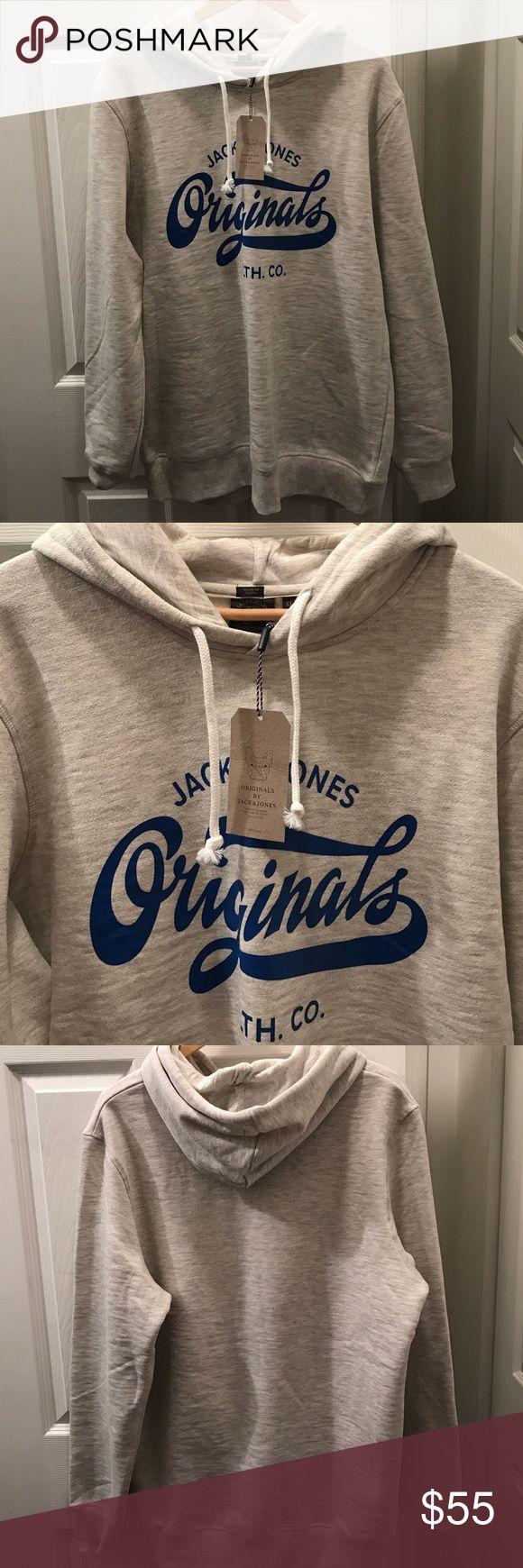 JACK & JONES HOODIE NWT XL GREY/BLUE JACK & JONES HOODIE NWT XL Light GREY/BLUE Jack and Jones Shirts Sweatshirts & Hoodies