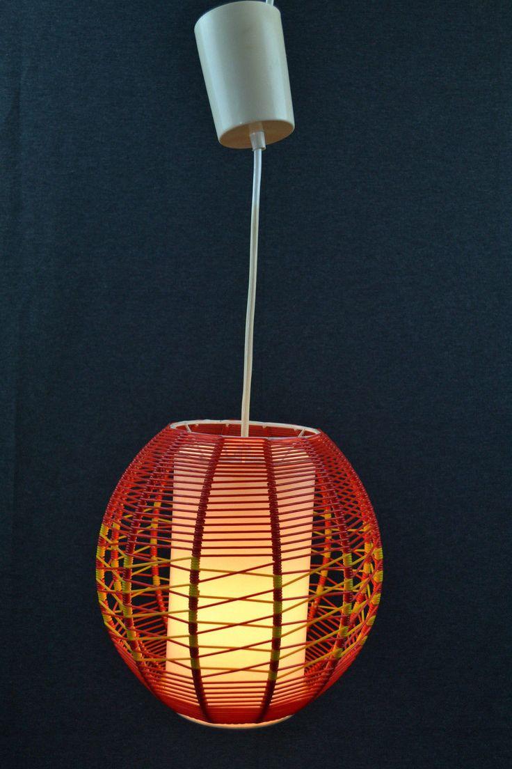 50er 60er J Spaghetti Lampe Kugel String Faden Leuchte DDR Deckenlampe Rot Gelb In Antiquitten