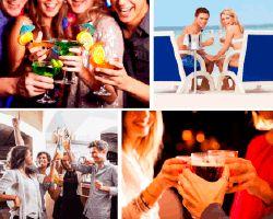 Apensar copas, amigos de fiesta, pareja en la playa... - A-pensar.org