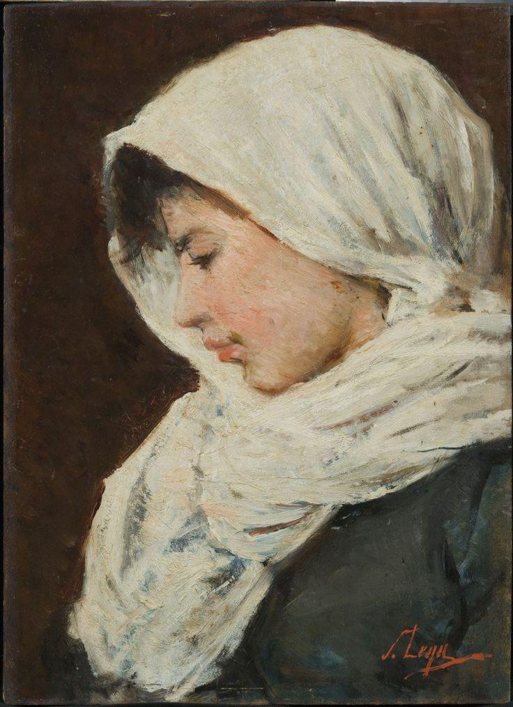 """Silvestro Lega (1826-1895)  """"Donna con scialle bianco"""""""