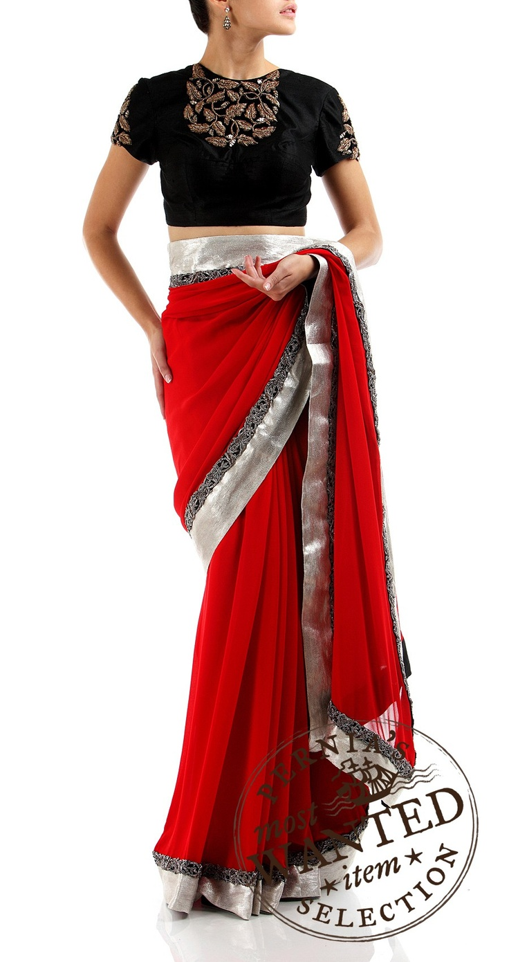 Red Saree with silver border and embroidered black blouse available only at Pernia's Pop-Up Shop