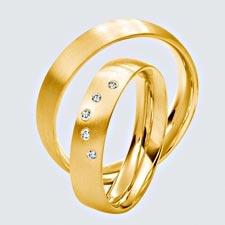 Verighete din aur galben cu briliante.