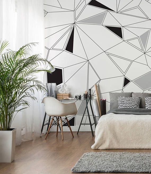 Geometric Wallpaper Black White And Grey Removable Self Adhesive Wall Decor For Your Home Or Office