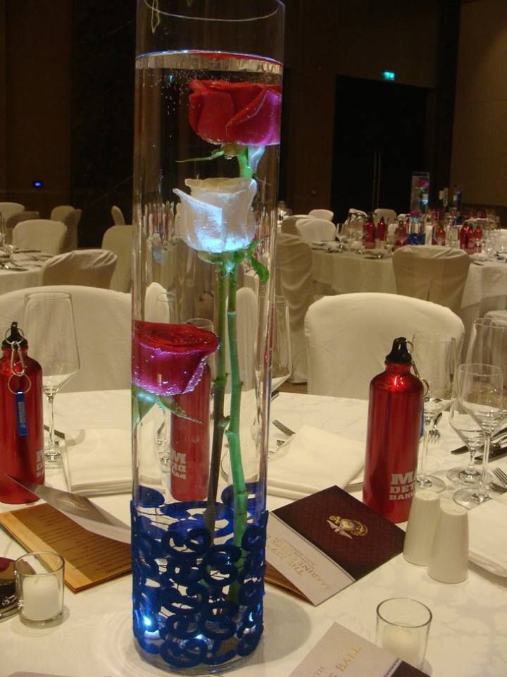 Marine Corps Ball - Underwater roses. Patriotic Centerpiece by www.itsmydelight.com
