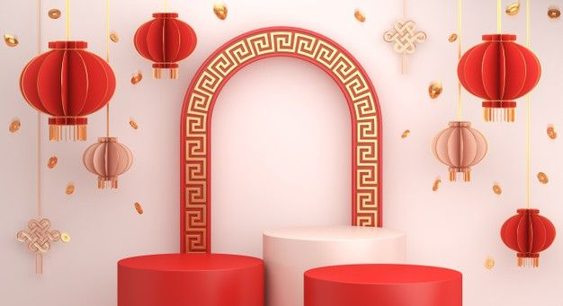 Happy Chinese New Year Podium Display With Lantern In 2021 Happy Chinese New Year Happy Mid Autumn Festival Chinese New Year