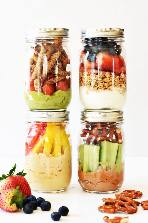 Looking for a quick, healthy snack? Make these 4 healthy grab-and-go snack jars, so you have a nutritious meal ready when you