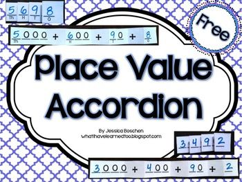 Place Value Accordion:  Write the digits of a number and fold on the solid lines to create a place value foldable. FREEBIE