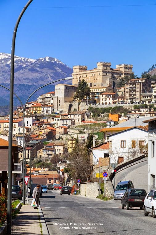 The town of Celano in Abruzzo, Italy