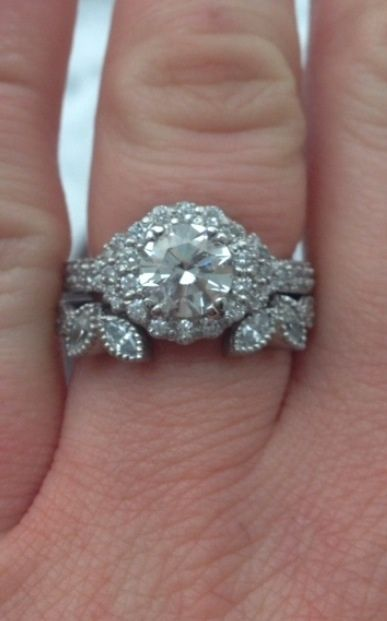 bang fit to flower halo engagement ring - Wedding Band For Halo Ring
