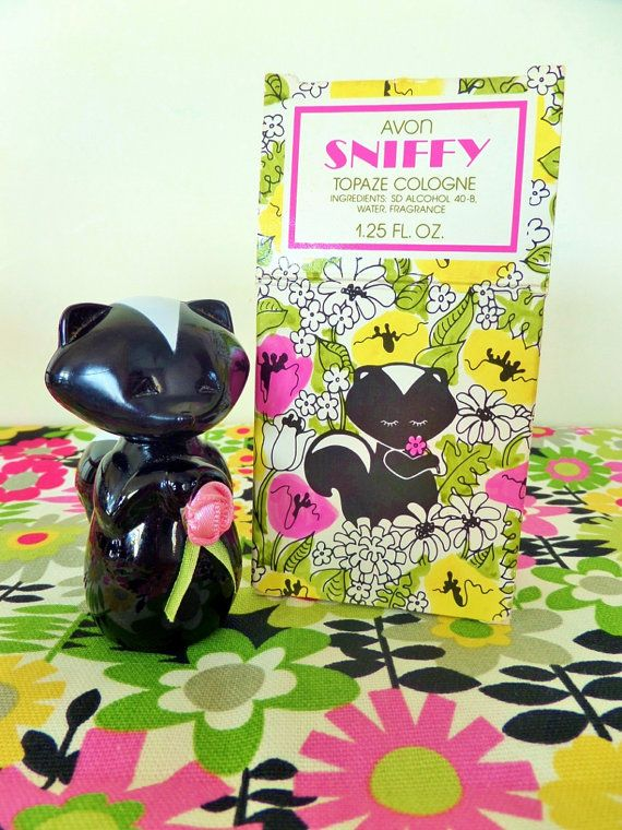 Retro Avon Perfume Bottle  Sniffy the Skunk  1960s by JacksonMill