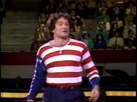 "Robin Williams portrays the American flag in ""I Love Liberty,"" a two-hour television special created by Norman Lear and presented by People For the American Way."
