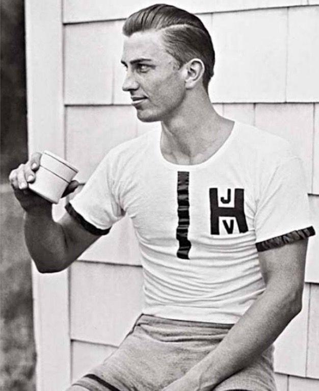 Franklin D. Roosevelt Jr. taking a break after rowing with Harvard crew