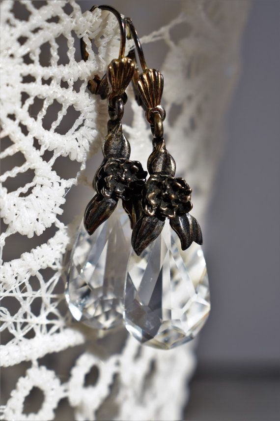 Beautiful Antique Silver Crystal Earrings by PrettyDifferentShop