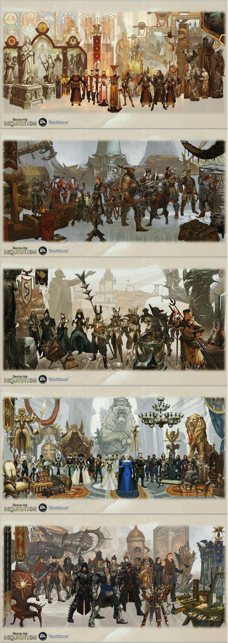 Dragon Age concept pieces which show early designs as well as faction colors and aesthetics.