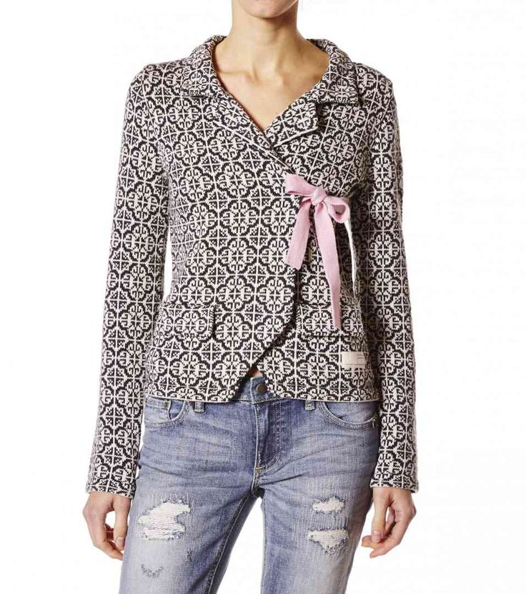 Cardigan in 100% cotton with jacquard knit, knitted bows and full needle tietapes.