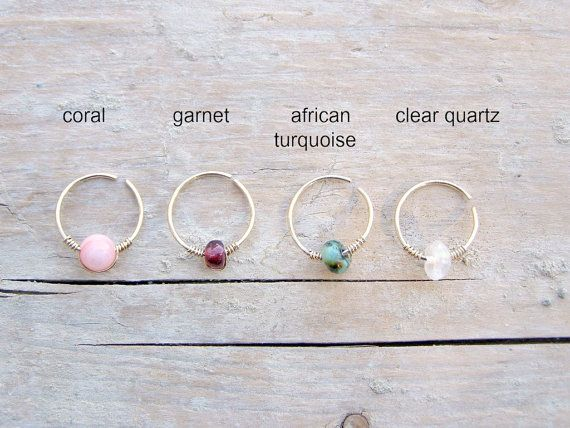 Nose Ring  Helix Earring Cartilage Hoop Beaded helix by Taltallim