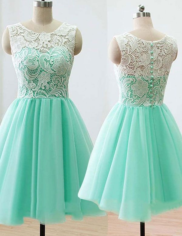 Cute Scoop A-line Mint Short Bridesmaid Dress With Lace