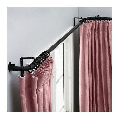 HUGAD Curtain Rod Combination Bay Window Black