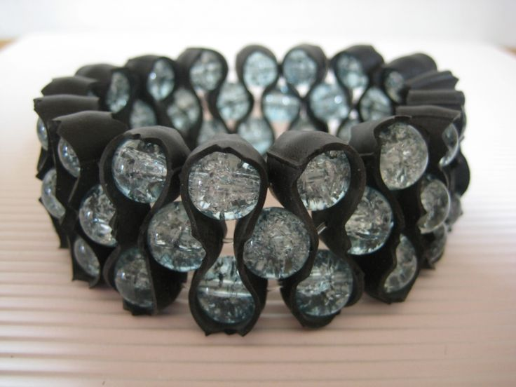 Bracelet made of beads and recycled tires.
