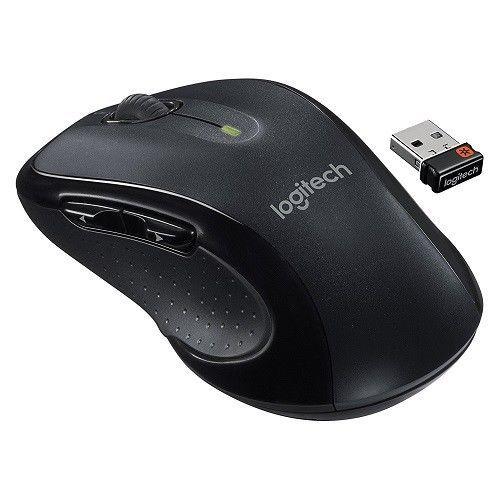 Logitech Wireless Mouse Black Contoured Grips Mac PC Receiver Rubber Soft USB #Logitech