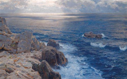 blastedheath: Willy Hamacher (German, 1865-1909), Coastline. Oil on canvas. 96 x 149 cm.