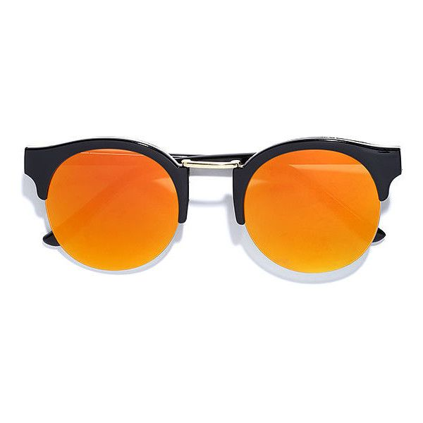 Live Your Life Black and Orange Mirrored Sunglasses (34 BAM) ❤ liked on Polyvore featuring accessories, eyewear, sunglasses, glasses, black, mirror sunglasses, round mirrored sunglasses, gold round sunglasses, round lens glasses and round glasses