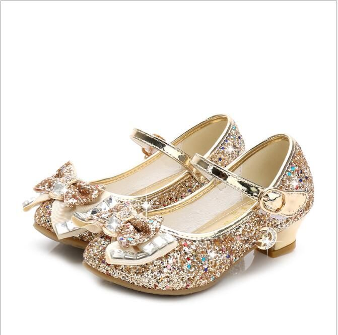 Girl/'s Kid/'s Childrens Low Heel Party Wedding Mary Jane Gold Sandals Shoes 26-36