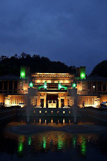 Night view of Frank Lloyd Wright's Imperial Hotel   Museum Meiji-Mura, Inuyama, Aichi, Japan 明治村 旧帝国ホテル