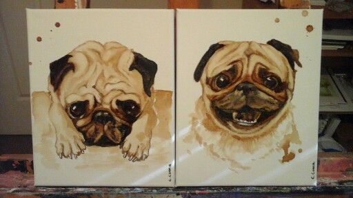 Pug painted with coffee.. before coffee, after coffee....  cathcurrie.etsy.com