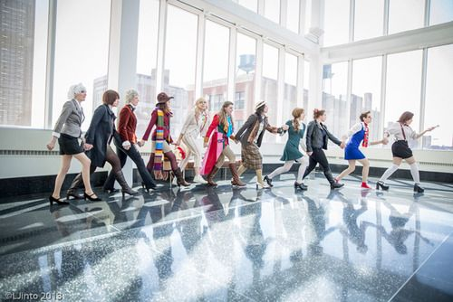 Female Doctor Who cosplayers. I'd like to join this as Capaldi.