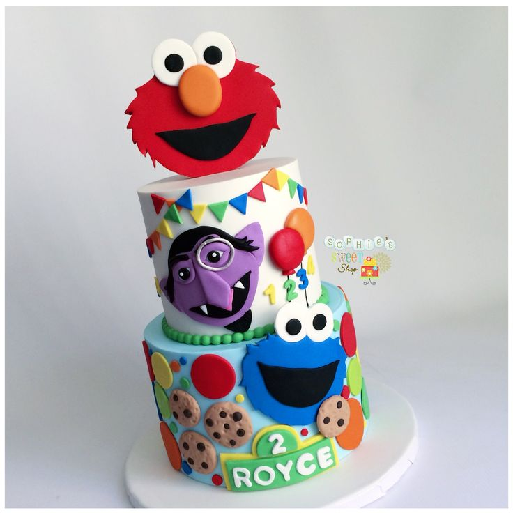 Sesame Street cake  Elmo cake  Count Von Count cake  Cookie Monster Cake [instagram: @sophiesweetshop and sophiesweetshop.com in carson, california]