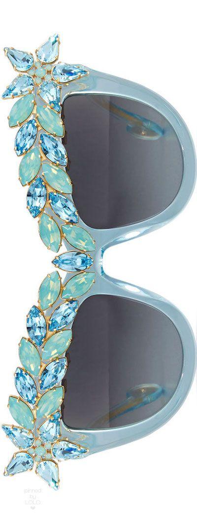 Anna Karin Karlsson Decadence Swarovski® Cat-Eye Sunglasses, Turquoise | LOLO❤︎