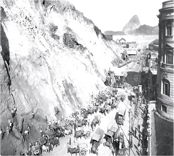Remoção de terra do Morro Castelo - 1921 - Augusto Malta