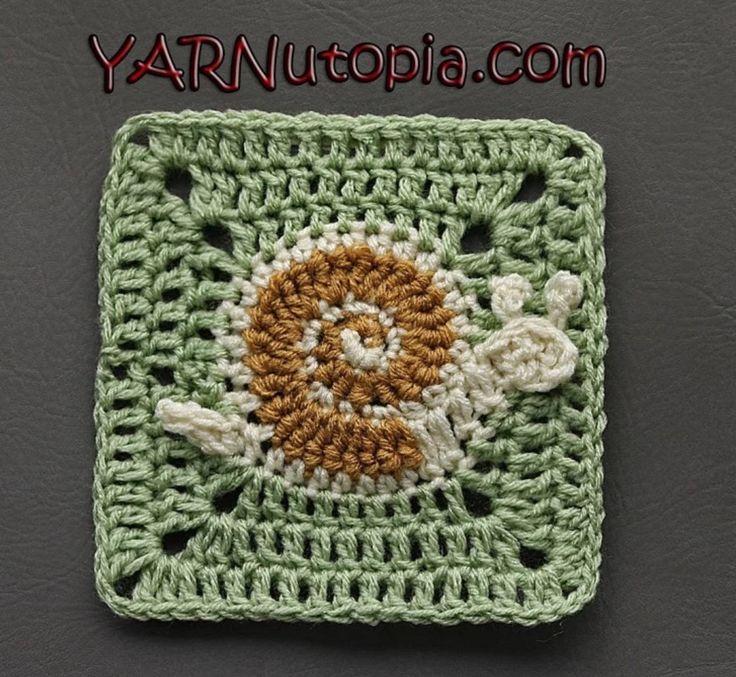 Crochet Snail Granny Square Free Pattern